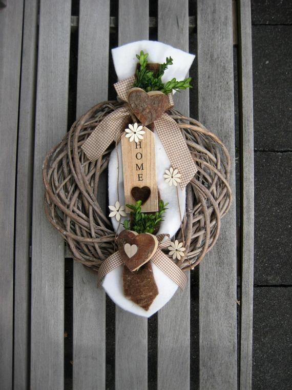 Photo of 36 cm XXL loslitt årgangsdørkrans, interiør og dekorasjon, gaveide, krans, dørdekorasjon