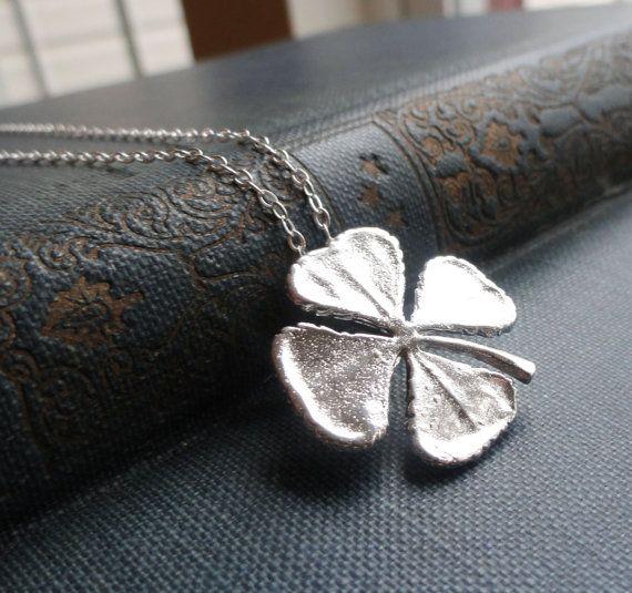 Four leaf clover necklace sterling silver shamrock by BriguysGirls
