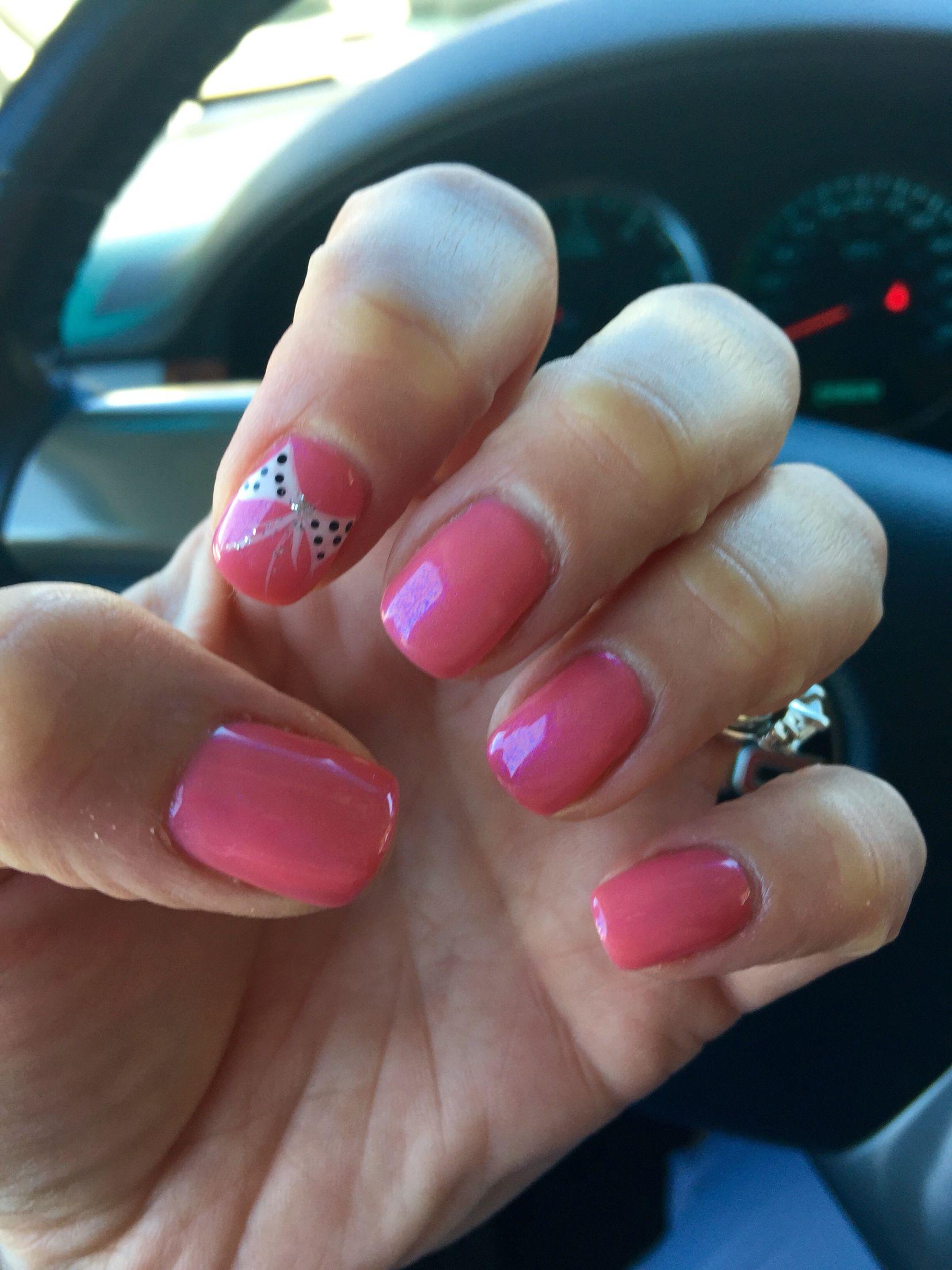 Nail Design Shellac Gellish Nail Art Bows Pretty Pink Summer