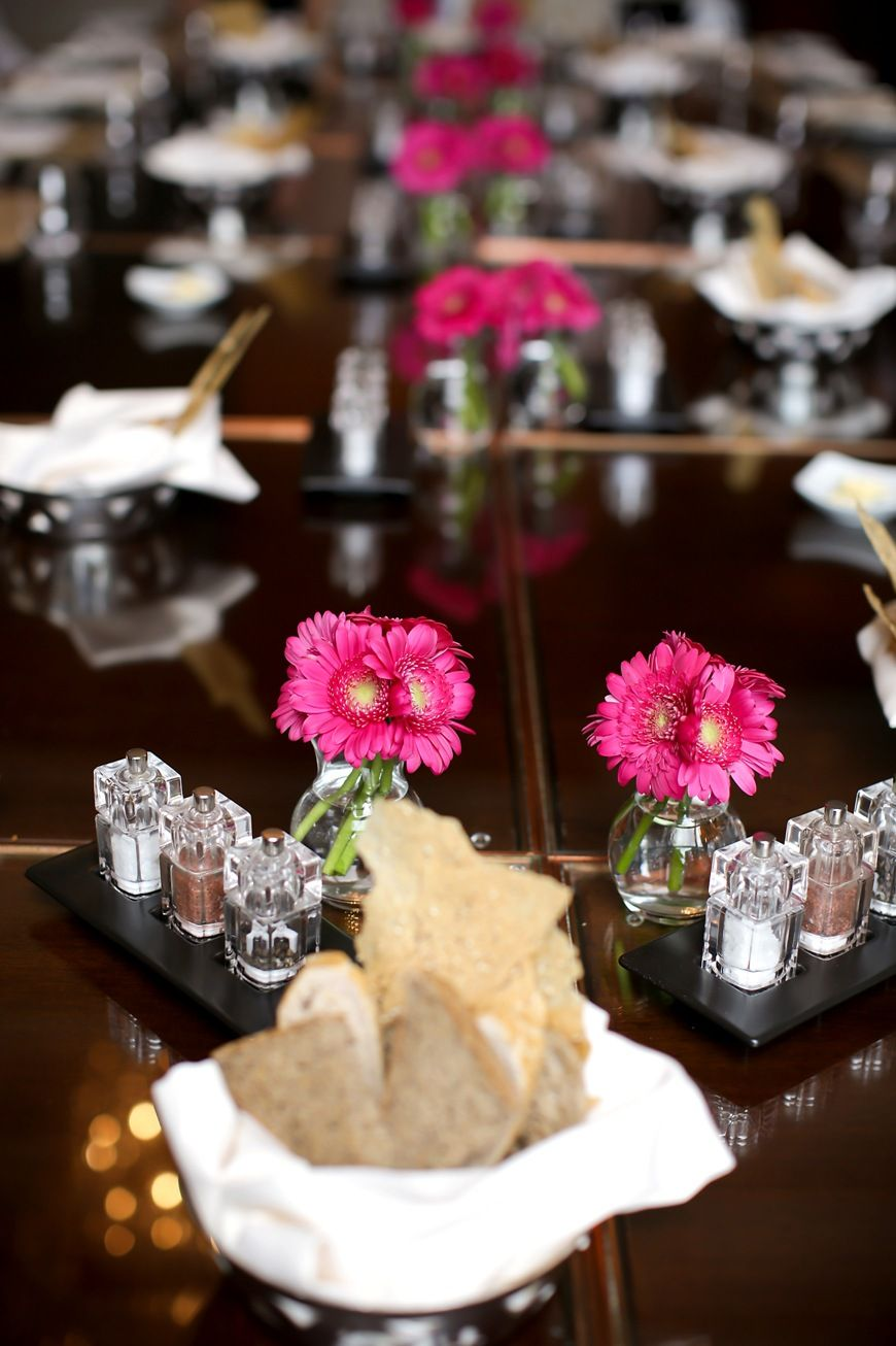 Pink Flower Decor On The Tables In The Gresham Restaurant At Four