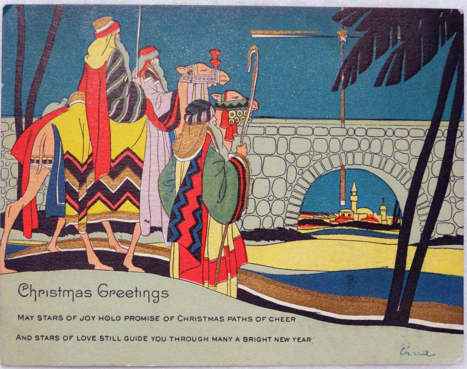 Vintage New Old Stock Three Kings 120 Christmas Card Pegs