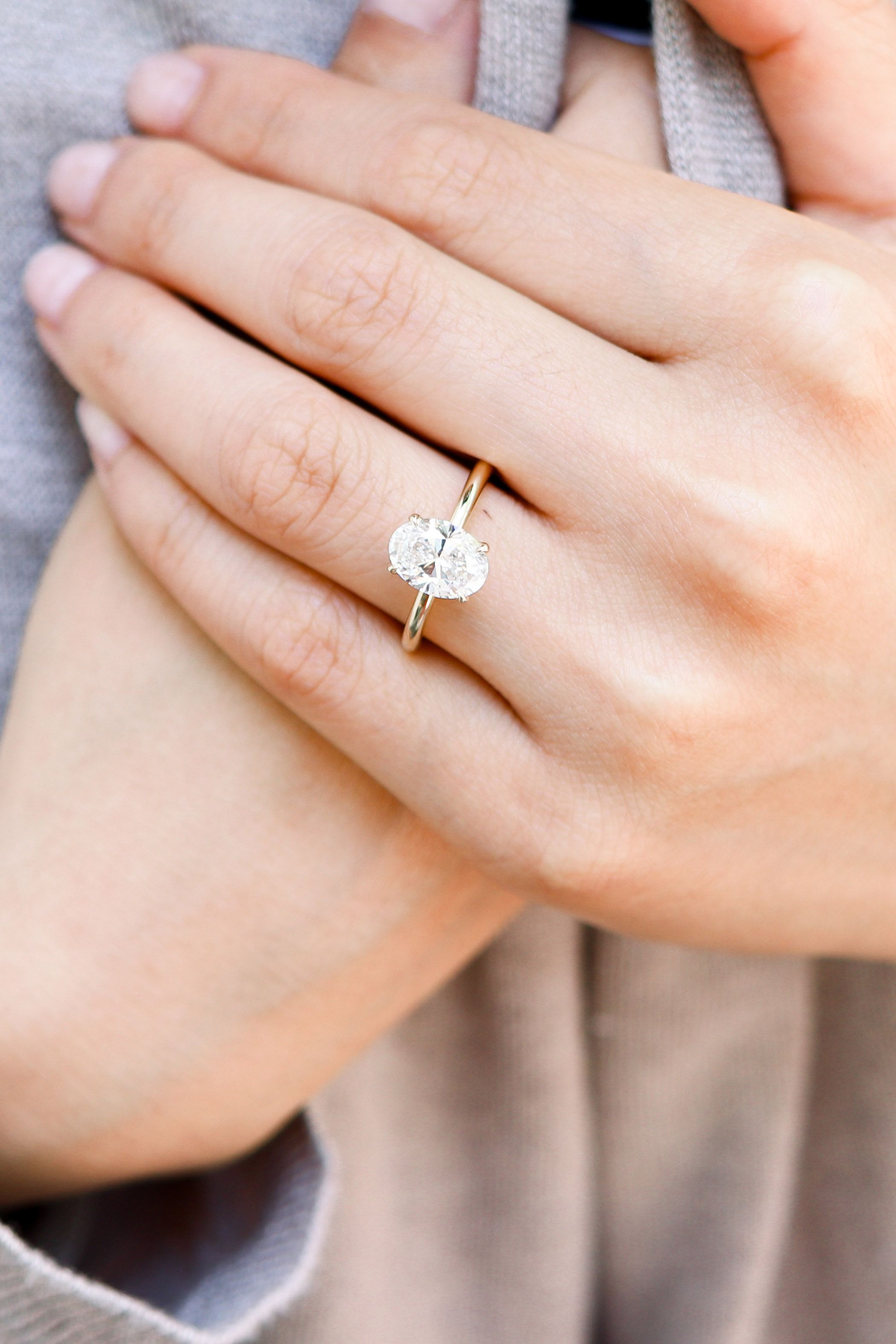 2 0 Carat Oval Solitaire Engagement Ring In 18k Yellow Gold Ada Diam In 2020 Lab Diamond Engagement Ring Oval Solitaire Engagement Ring Lab Grown Diamonds Engagement