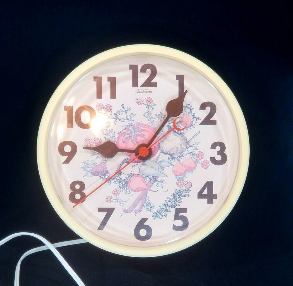 1970s Spice Of Life Electric Wall Clock Sunbeam 9 Electric Clock Wall Clock Electric Clock Kitchen Wall Clocks