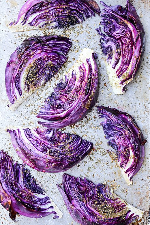 Roasted Red Cabbage Wedges With Zaatar