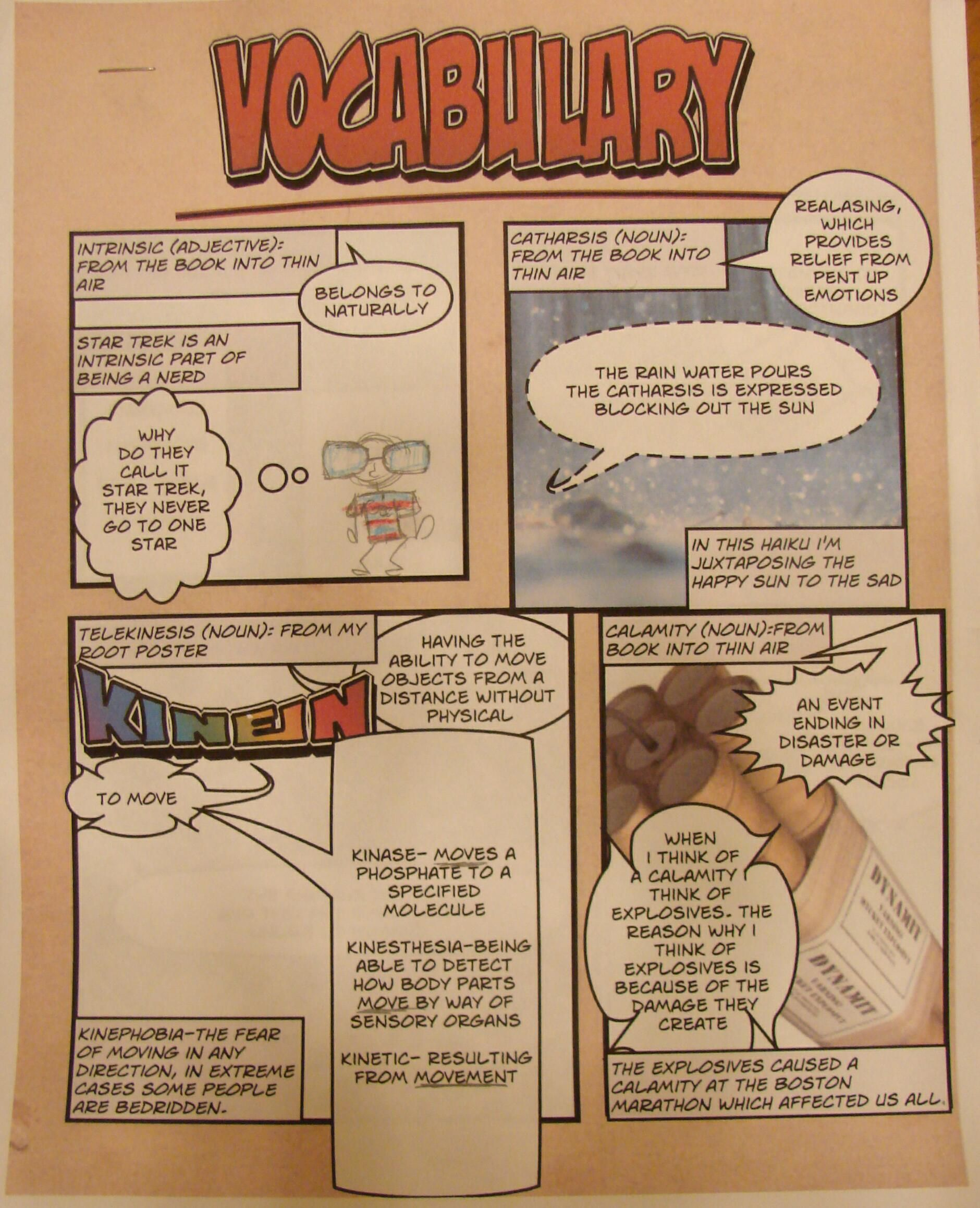 """I now have several students using """"Comic Life"""" to create their vocabulary collections. 7th grader--Kasey--earns a vocab collector award for being inspired by eighth grader Mimi's use of that comic-generating program last week: http://www.pinterest.com/pin/450852612668334058/  I love technology tools the kids discover on their own.  I love that my kids are checking this Pinterest board for ideas from each other!"""