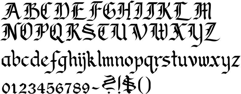 Old English Calligraphy Font Alphabet Callifonts Upper Case Lower Numbers Symbols