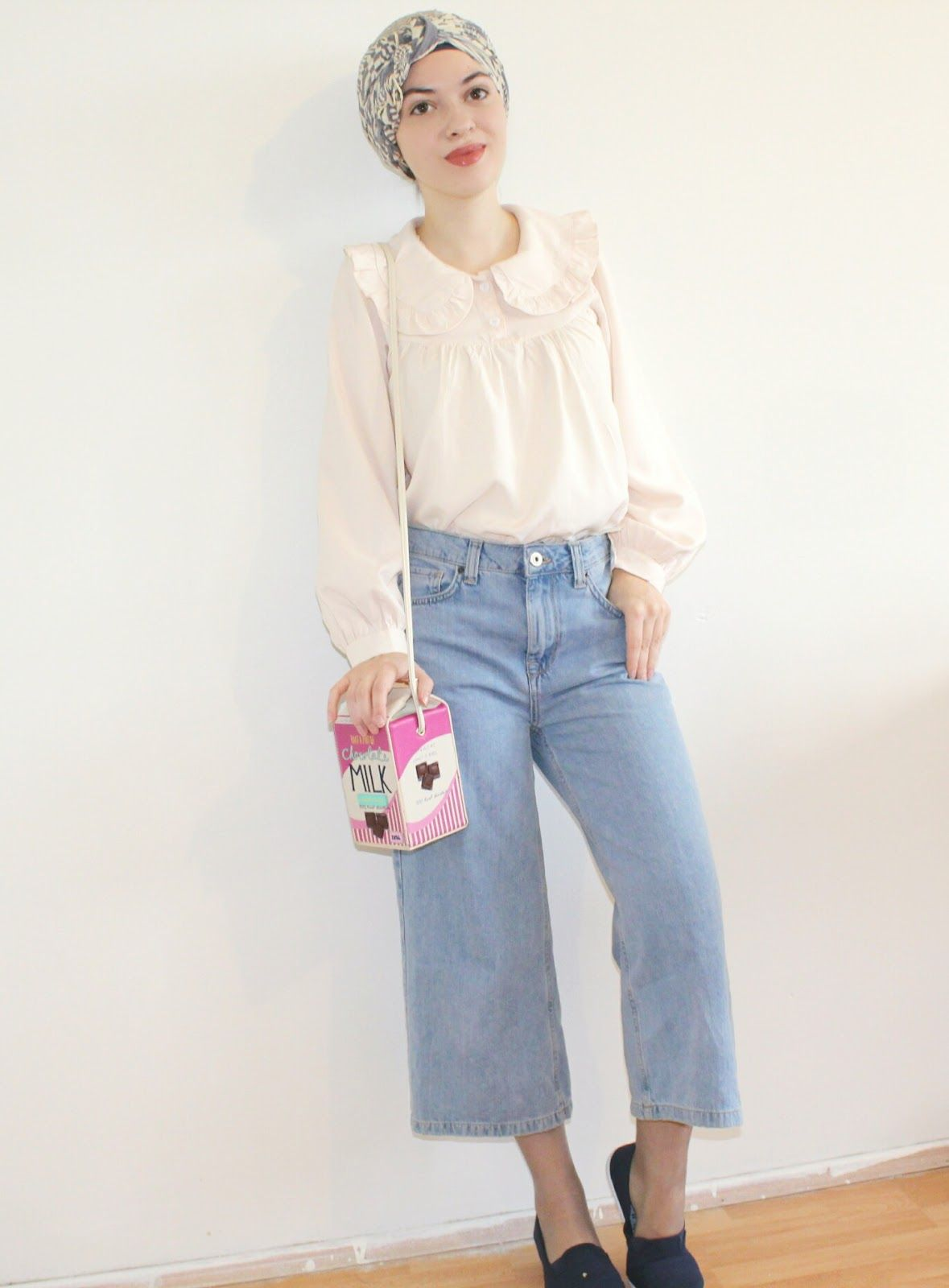 Vintagonista Four seasons of denim culottes.. (Remix) vintage culottes denim turban hijab ...
