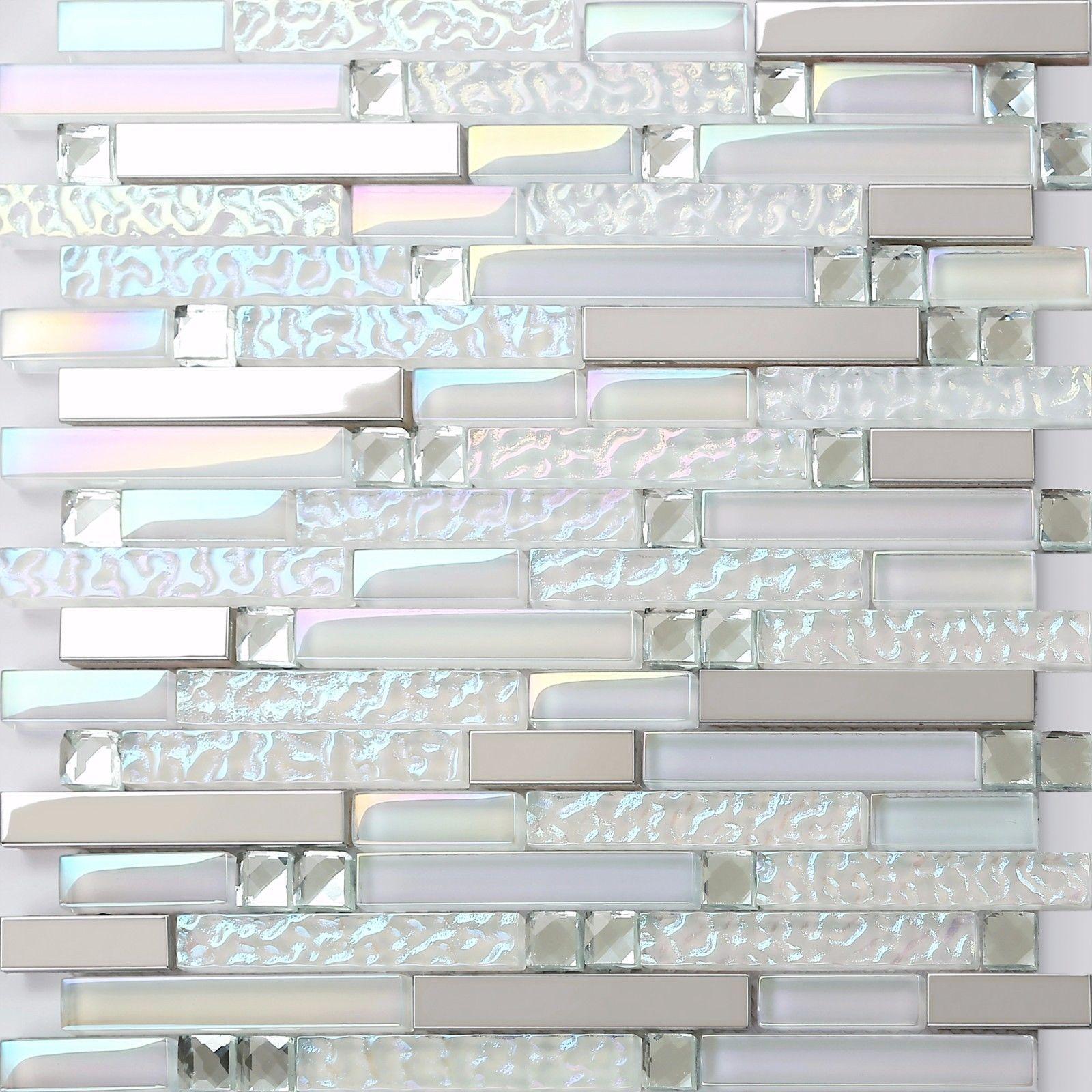New White Interlocking Backsplash Glass Tile Iridescent Kitchen
