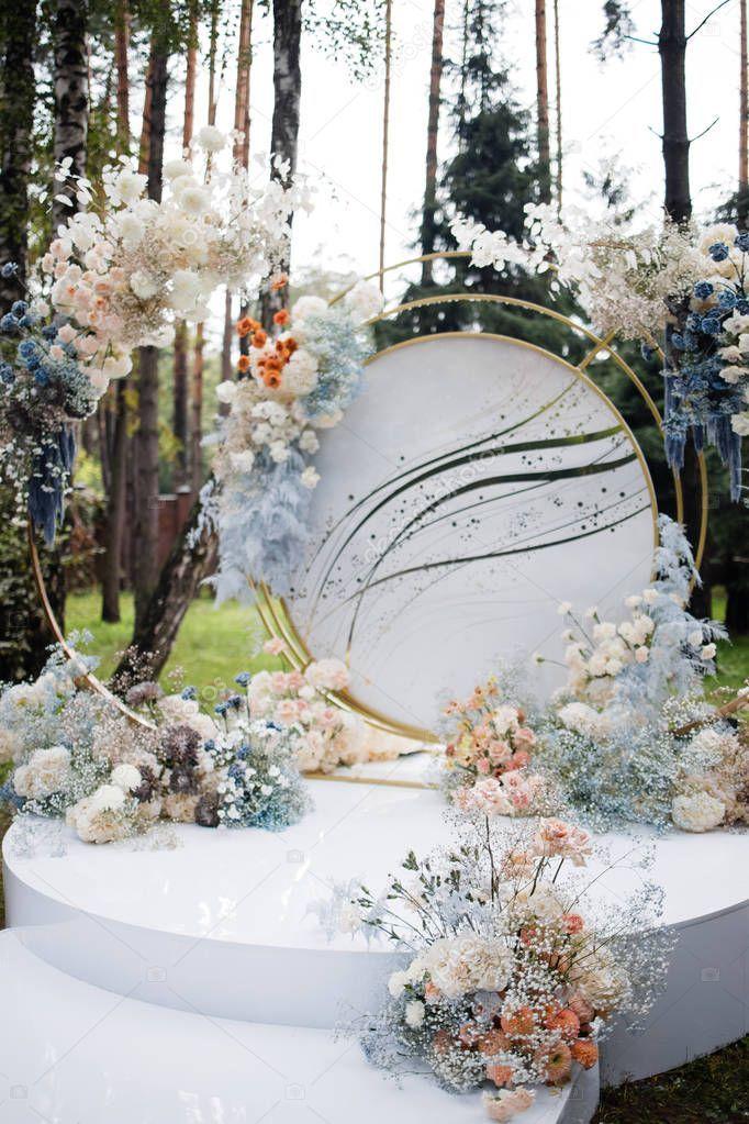 Photo of Wedding Decorations Floral Design Registration Area Banquet Hall