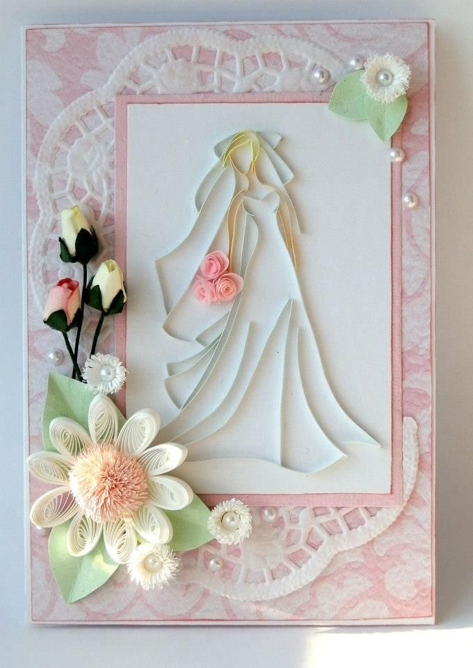 Bridal engagement quilling greeting card designs 2015 for Big quilling designs