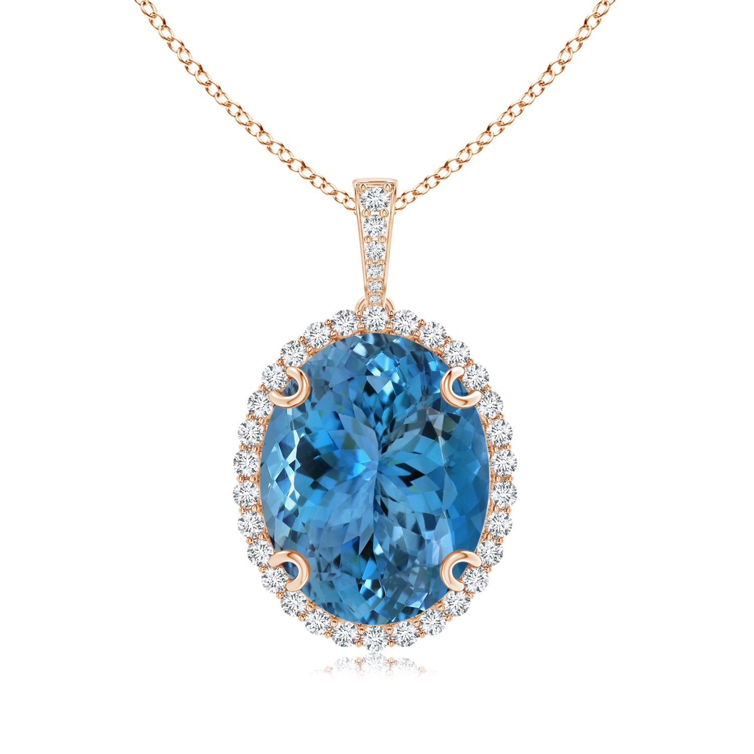 Angara Aquamarine Necklace - GIA Certified Oval Aquamarine Halo Pendant with Diamond Bale S9fuwIhX