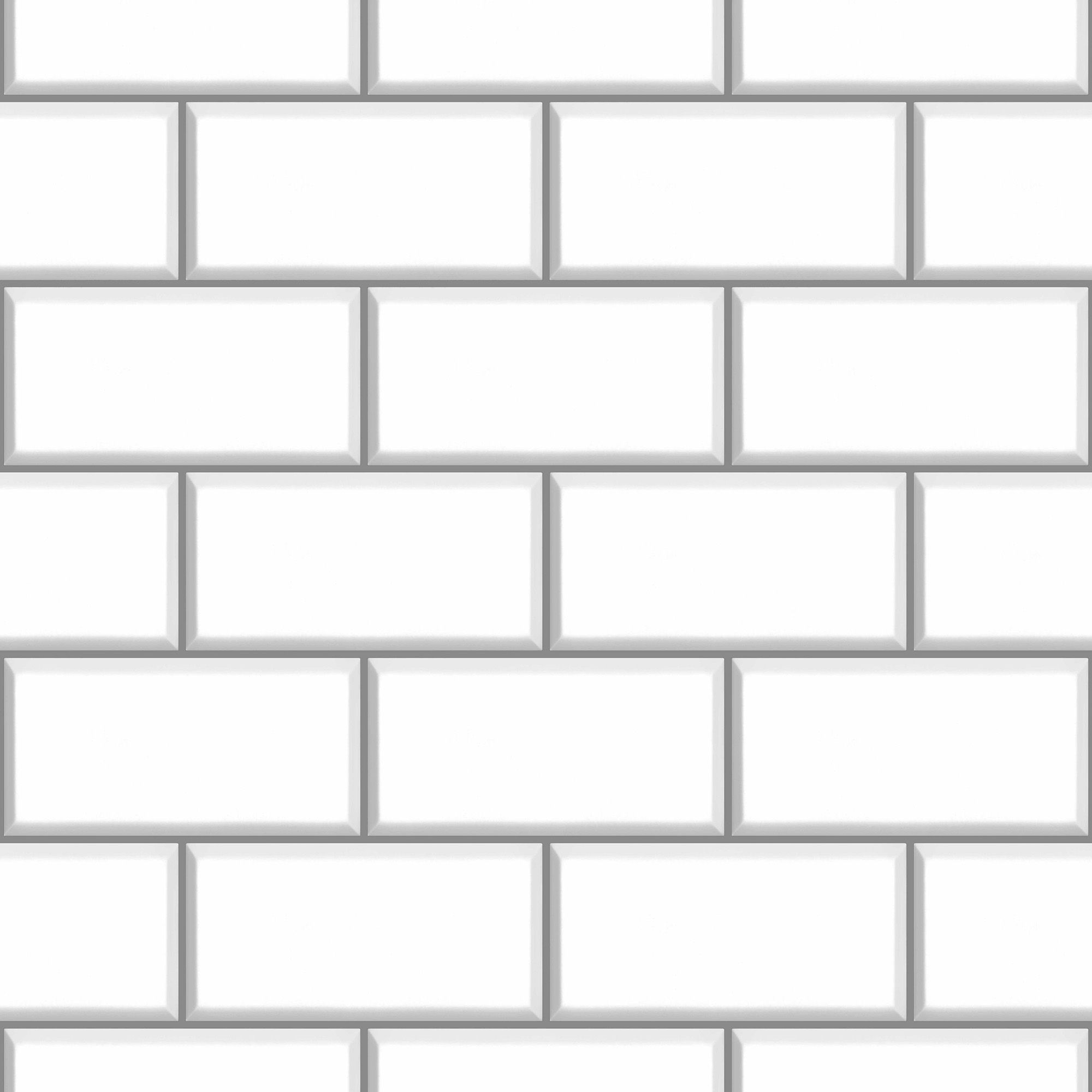 Paste The Paper Ceramica Vinyl White Wallpaper Departments Diy At B Q Tile Wallpaper Subway Tile White Brick Wallpaper