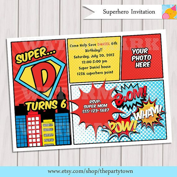 superhero birthday party invitation personalized printable with photo comic book invitation digital printable invitation - Superhero Birthday Party Invitations