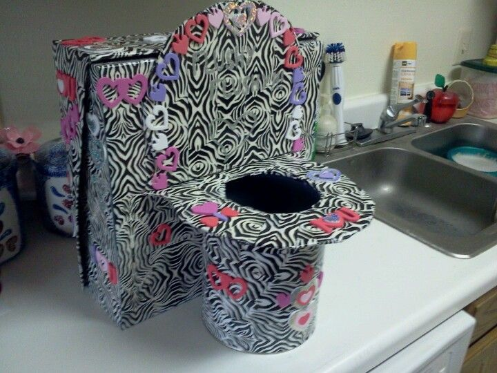 Toilet Valentines Day Box Zebra Duct Tape, Stickers, Shoe Box, Paint Can