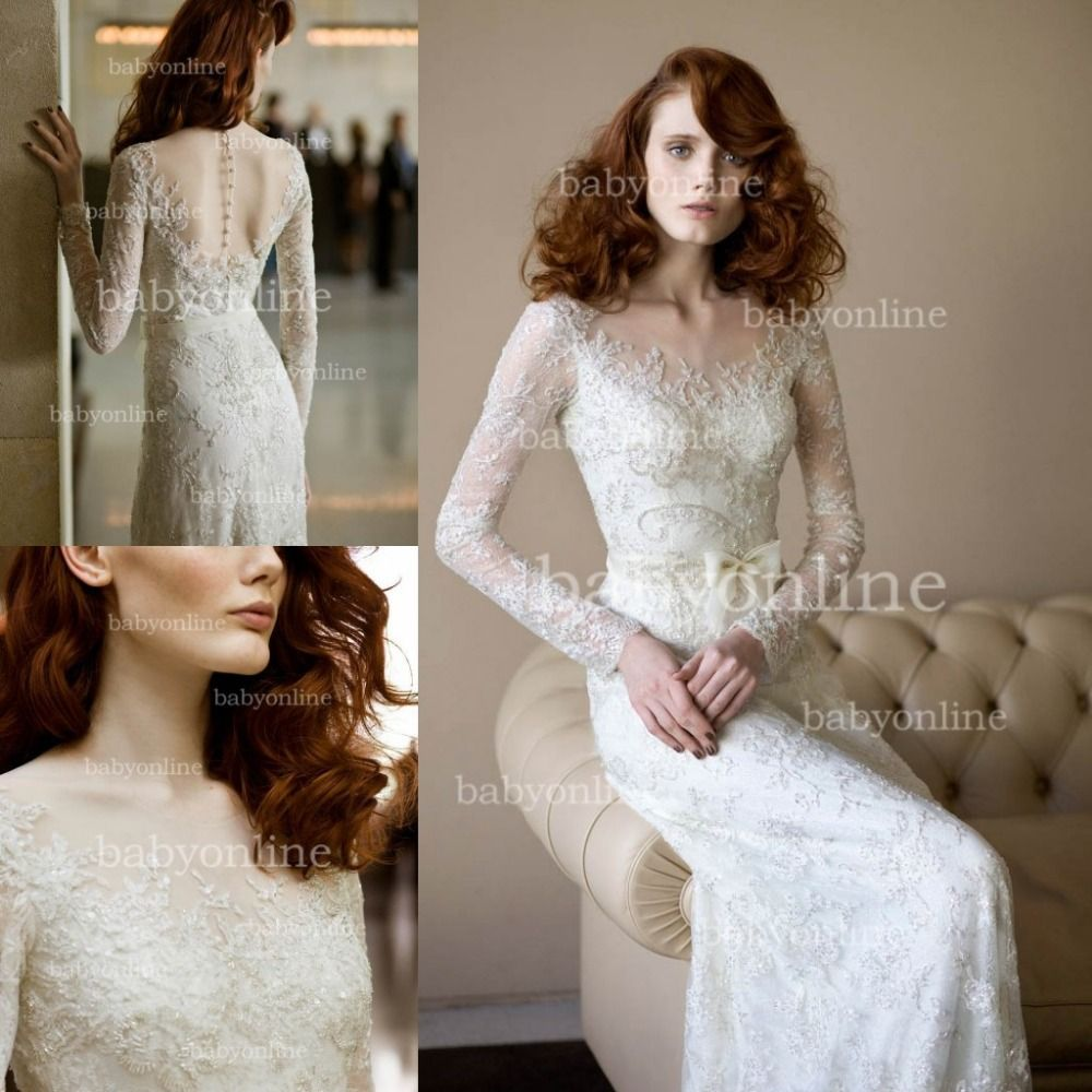 bo2703 new design lace v neck long sleeves lace wedding