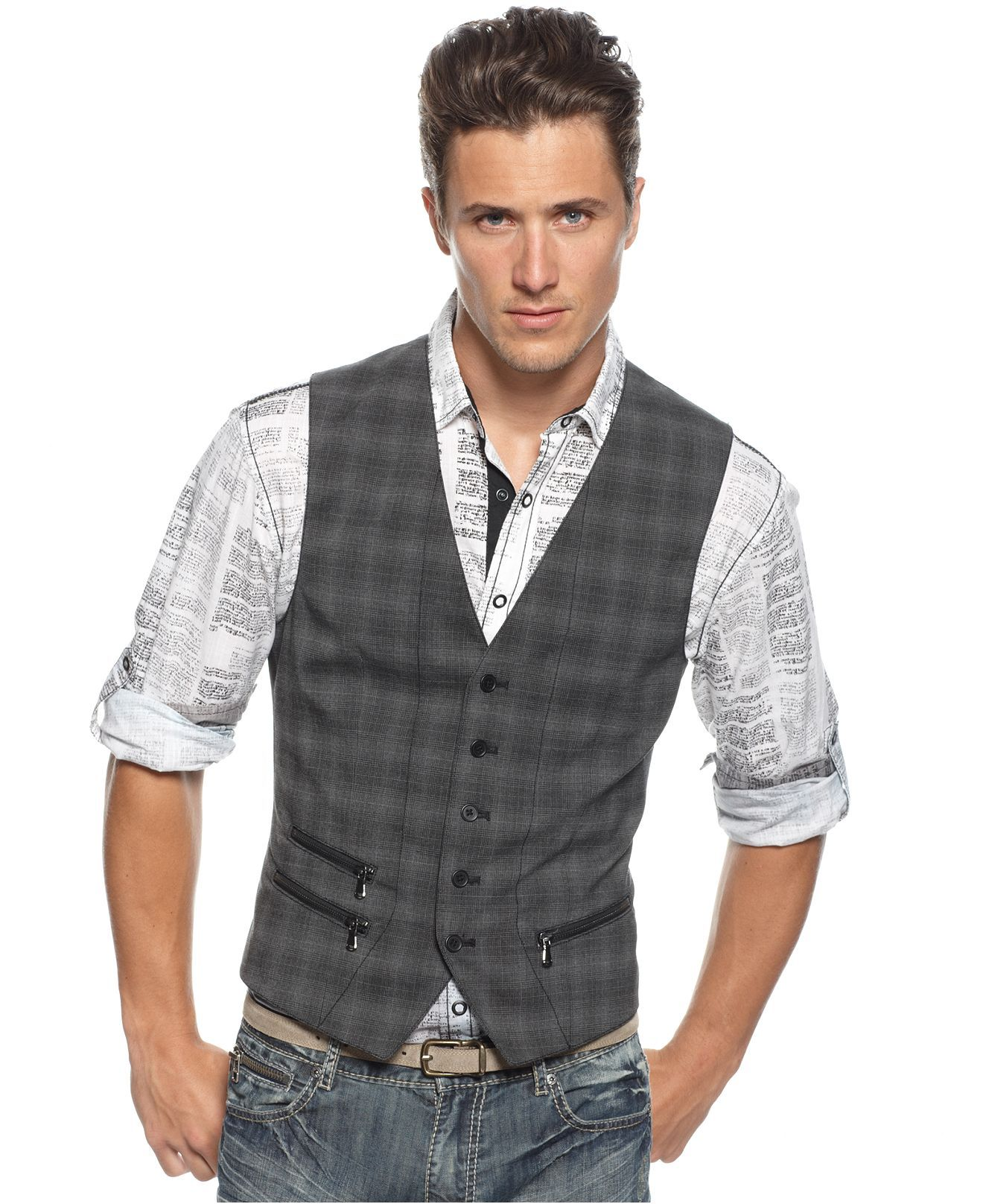 Bar Iii Vest Five On Plaid Mens Blazers Sport Coats