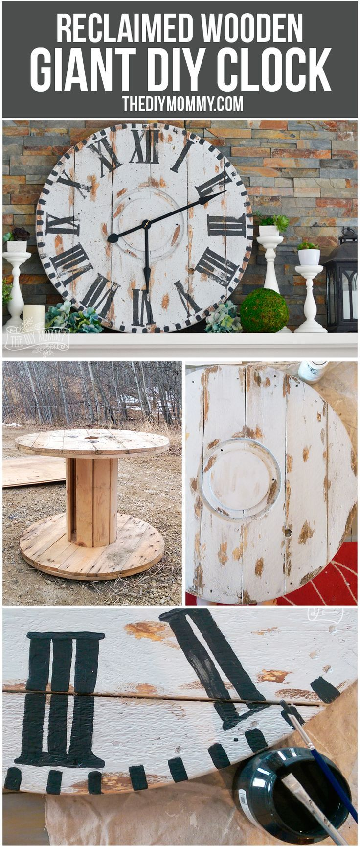 Make A Giant Reclaimed Wood Clock From An Electrical Reel 12monthsofdiy Barn Wood Crafts Rustic Wall Clocks Diy Clock