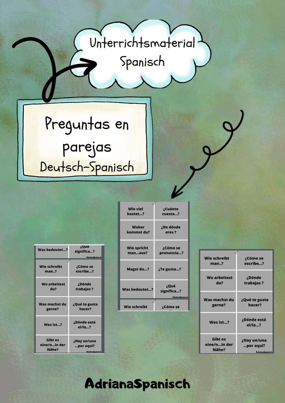 Preguntas En Parejas Deutsch Spanisch Unterrichtsmaterial In Den Fachern Fachubergreifendes Spanisch In 2020 Spanisch Unterrichtsmaterial Lernen