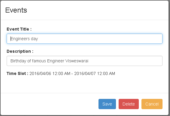 CRUD operations on Angular UI Calendar(Event Scheduling