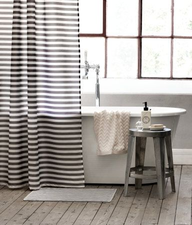 Black white striped shower curtain 20 h m home cool Bold black and white striped curtains