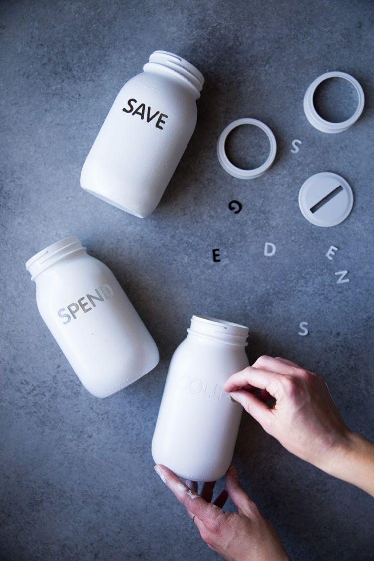 Spardose Basteln Sparschwein Selber Machen Beschriften Schraubglas