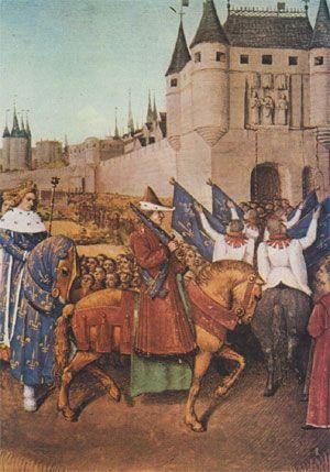 Charles V fait son  entrée à Paris en 1364. - En ces heures sombres où la monarchie française part à la dérive, le dauphin Charles montre ce bon sens fait de mesure et de raison qui a souvent tenu lieu de génie aux Capétiens et auquel lui-même doit son surnom. Roi en 1364, il s'applique d'abord à pacifier le royaume.