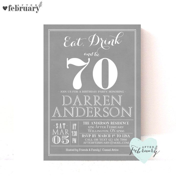 70th Birthday Party Invitation - Any Ages - Adult Birthday Invite ...