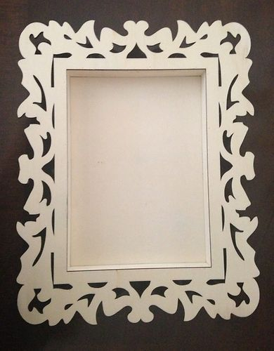 18 X 14 Scroll Decorative Lasercut Raw Wood Frame Tray For Craft