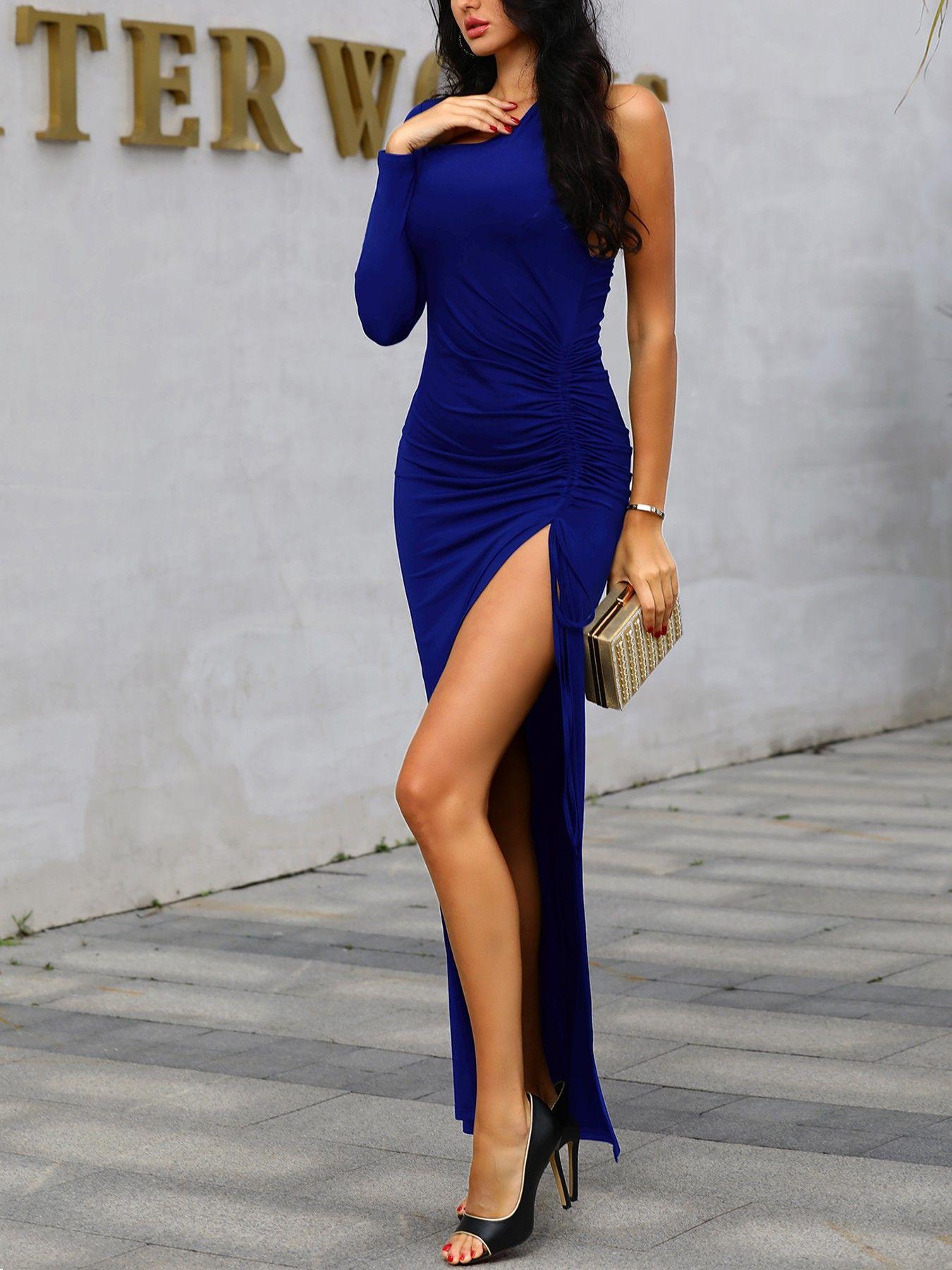 One Long Sleeve Thigh Slit Evening Dress V 2019 G Buy Dresses