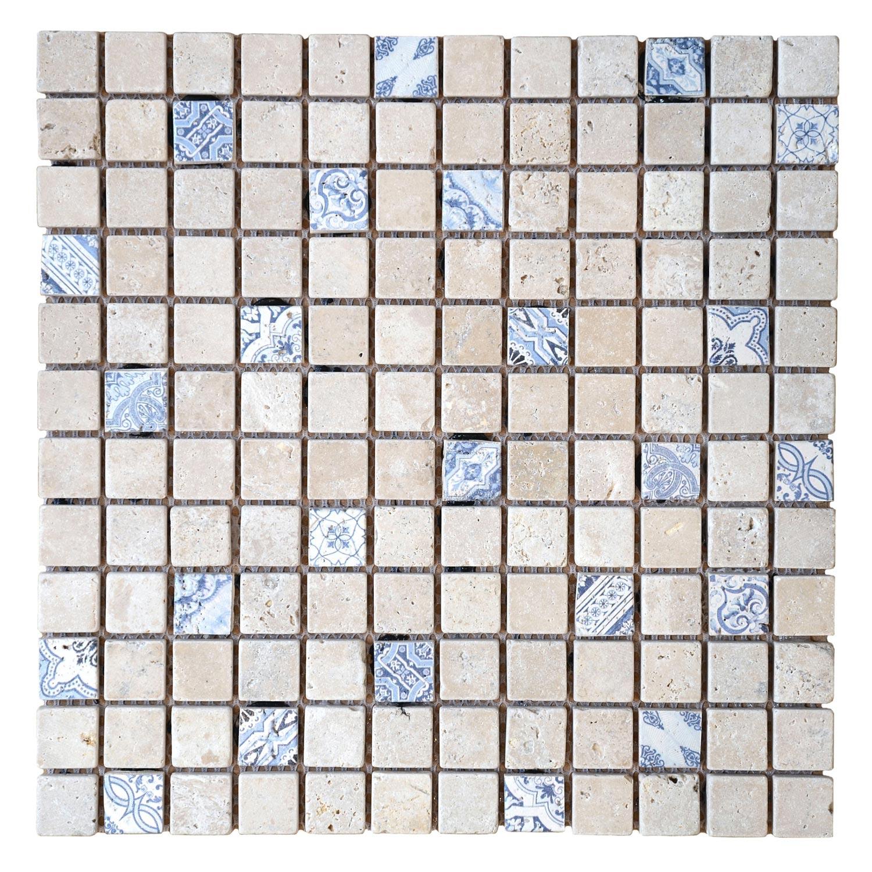 Mosaique Sol Et Mur Renaissance Travertin Beige Bleu 2 3 X 2 3 Cm Travertin Sol Et Mur Renaissance
