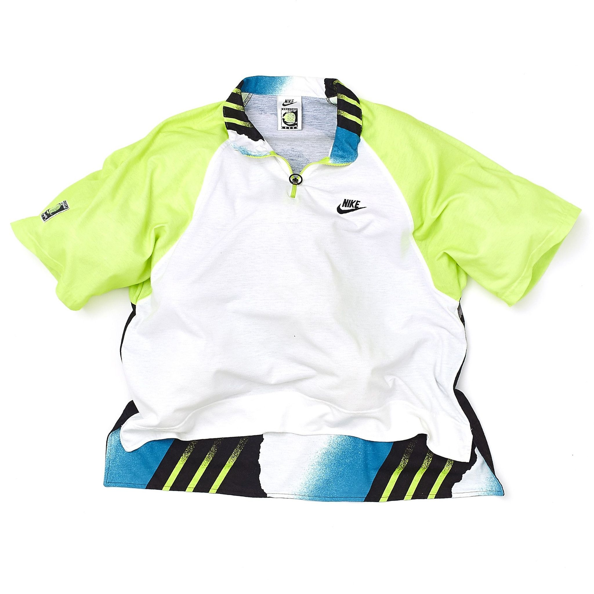 ed15fa2c59ad Nike Air Tech Challenge Court Polo Shirt - White   Neon Yellow   Blue    Black - 1990s