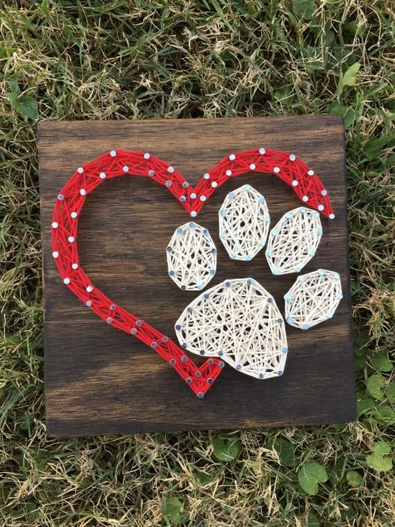 MADE TO ORDER Mini Dog Paw Heart String Art Board