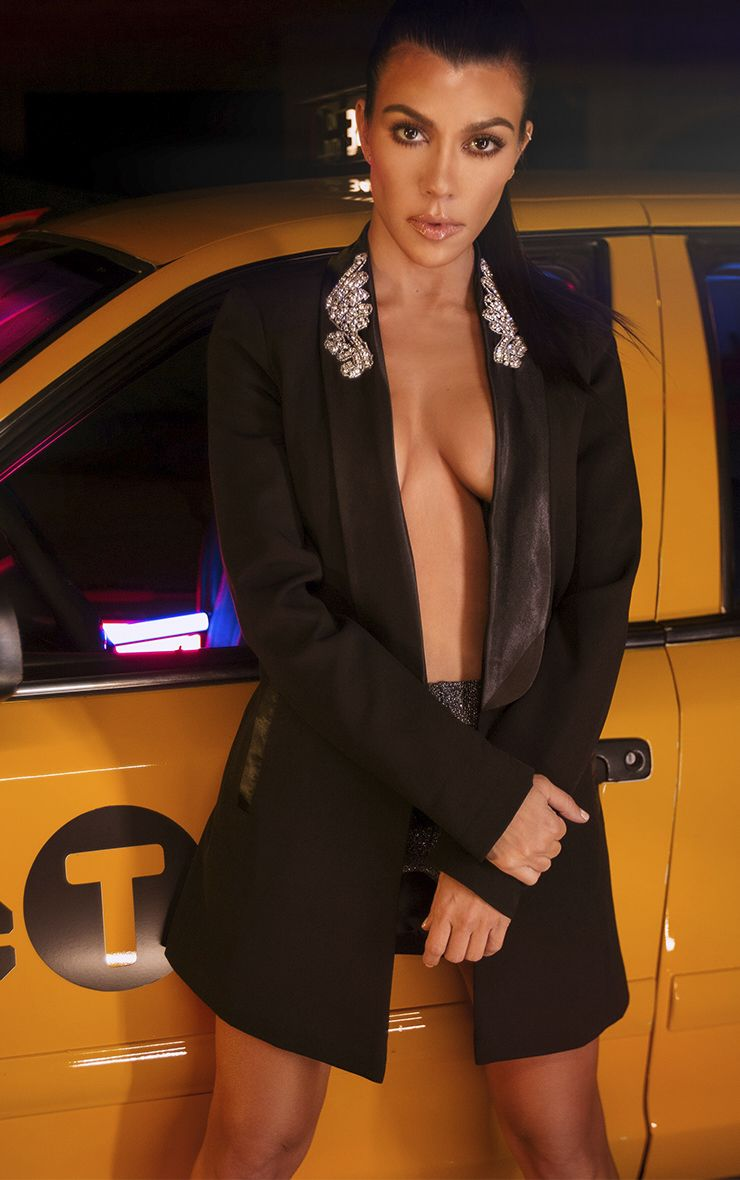 Black Embellished Applique Detail Oversized Blazer   Kourtney Kardashian. Size:10.