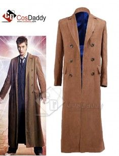 Doctor Who Dr Brown Long Trench Coat Suit Cosplay Costume Halloween Brown//Black