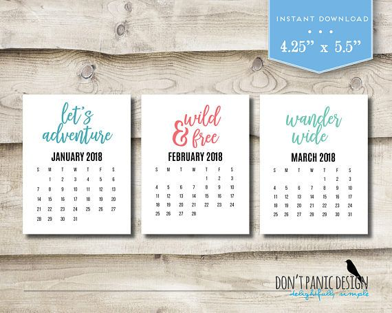 2018 printable adventure desk calendar 12 month adventure printable calendar 2018 instant download calendar