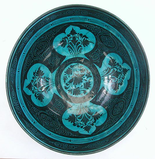 This striking turquoise‑and‑black bowl belongs to a group of ceramics known as Kubachi ware. Named for a village in the Caucasus where this pottery was discovered in quantity, such wares may have been produced elsewhere in northwestern Iran