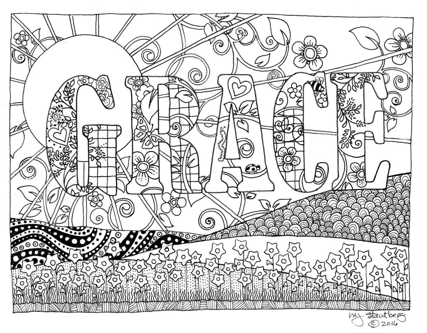 Coloring Page Hand Drawn Grace Downloadable Coloring Pages How To Draw Hands Star Coloring Pages
