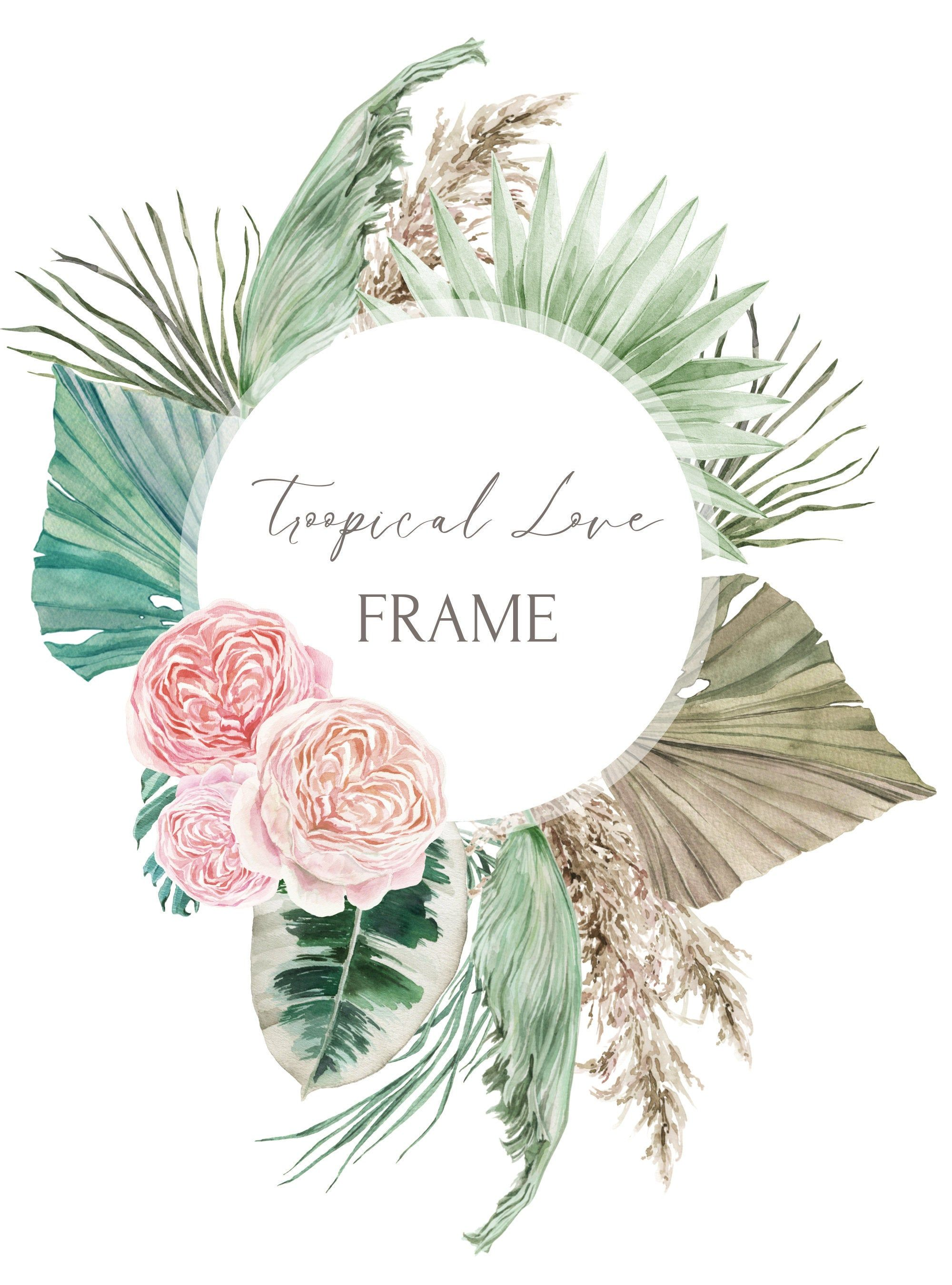 Rose wreath clipart Boho rose clipart Dried flower wreath. Rose frame png