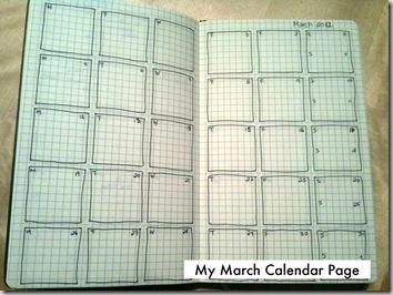 nice way to do a monthly planner - more visual (and a bit more work); top corners have day letter, and month #