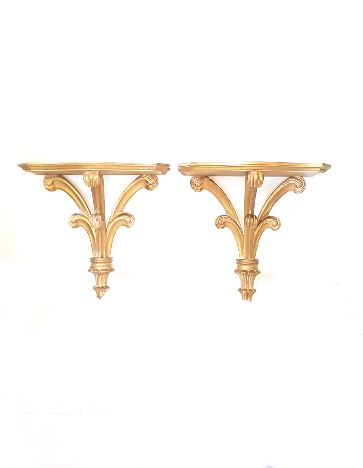 large pair carved gold wall shelf sconces vintage wall on wall shelf id=37442