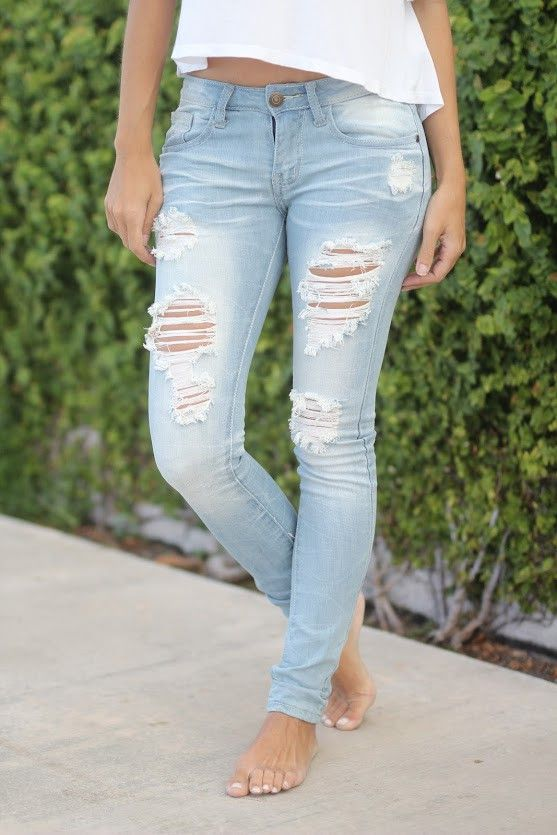 Super Destroyed Light Wash Skinny Jeans | Closet #2 | Pinterest ...