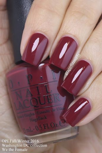 We the Female is a deep garnet red cream nail poli+#Anne