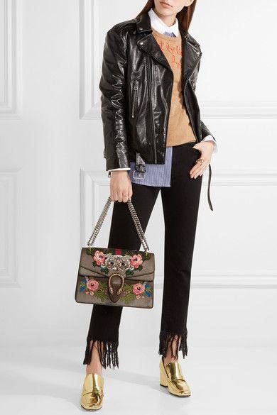 9146c4130b42 Gucci - Dionysus Medium Appliquéd Embellished Leather Shoulder Bag - Brown