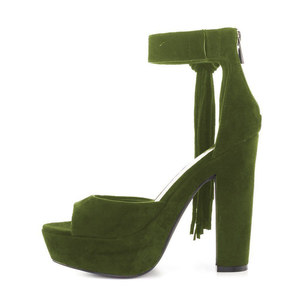 564007c3dd71f YDN Women Suede Chunky Heels Platform Pumps Open Toe Fringe Sandals with  Ankle Strap -- Do hope that you actually do love the image.