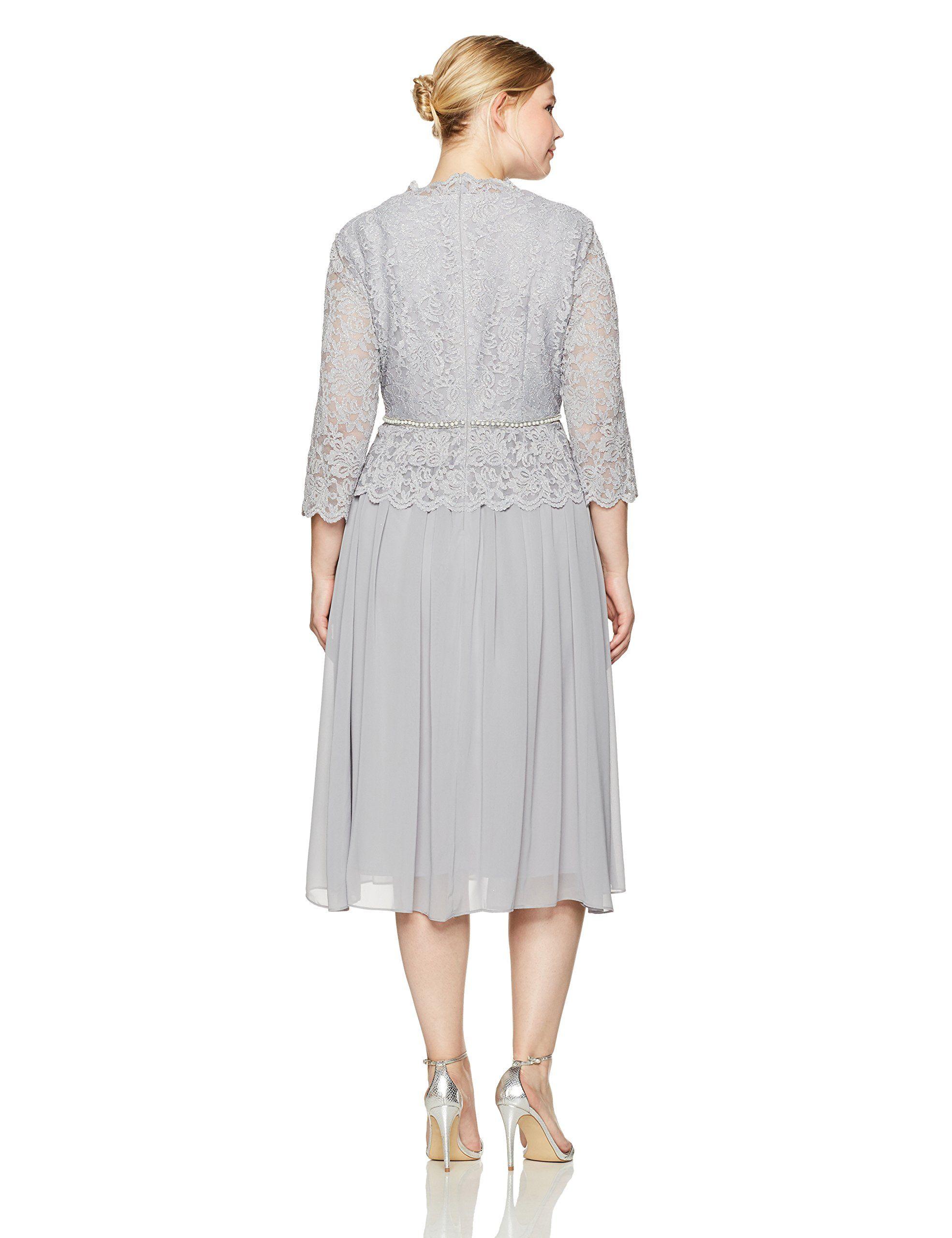 af3f92da902 Alex Evenings Womens PlusSize Fauxwrap Mock Lace Dress with Tea Length  Skirt Silver 24W     Click image for more details-affiliate link.