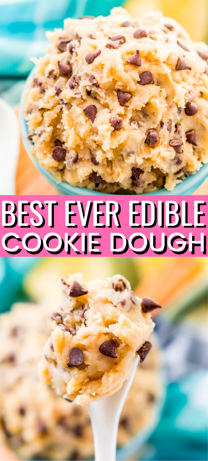 this Edible Cookie Dough recipe is an eggless and delicious treat you can make in just 10 minutes! Made with butter, sugar, flour, salt, and chocolate chips! #EDIBLECOOKIEDOUGH #COOKIEDOUGH #CHOCOLATE #DESSERTRECIPE