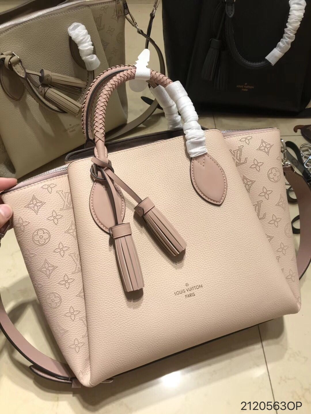 5e4a4a6a53c Louis Vuitton lv woman chic haumes tote bag with tassels original leather  version pink