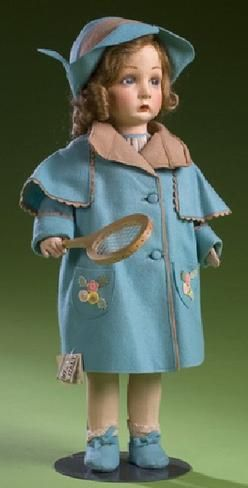 dolls, Italy, Signed Lenci Tennis Girl Doll, with molded and painted features, blue eyes, closed mouth and original blonde wig, dressed in original Scottish tennis outfit with wooden racket and with both woven Rayon and printed paper tags that read Lenci Made In Italy and Bambola Italia Lenci Torino Made in Italy with manuscript pencil on lower margin of tag Benedetta.