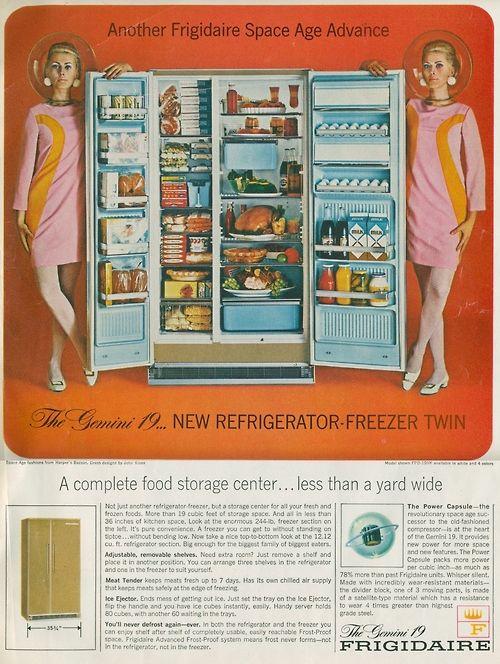 Space Age Refrigeration Vintage Print Ad 1966 Frigidaire Refrigerator