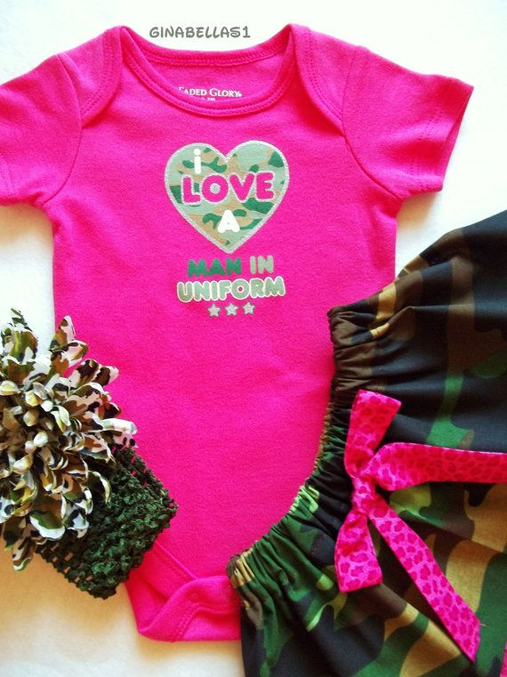 f63361d66 Pink camo outfit baby girl I love a man in uniform superhero onesie ...